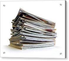 Pile Of Magazines Acrylic Print by Carlos Caetano