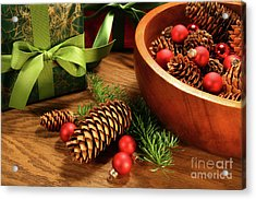 Pine Branches With Gift Tag  Acrylic Print by Sandra Cunningham