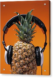 Pineapple Wearing Headphones Acrylic Print by Philip Haynes