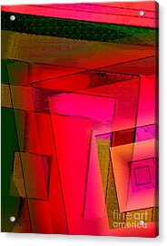 Pink And Green Geometric Art Acrylic Print by Mario Perez