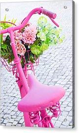 Pink Bicycle Acrylic Print by Carlos Caetano