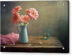 Pink Gerberas In Blue Pitcher Jug Acrylic Print by Copyright Anna Nemoy(Xaomena)