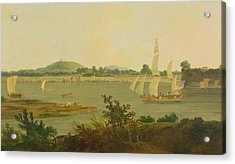 Pinnace Sailing Down The Ganges Past Monghyr Fort Acrylic Print by Thomas Daniell