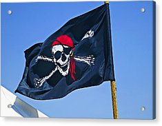 Pirate Flag Skull With Red Scarf Acrylic Print by Garry Gay