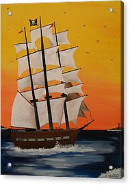 Pirate Ship At Dawn Acrylic Print by Paul F Labarbera