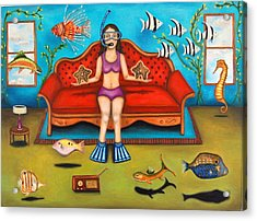 Pisces 3 Acrylic Print by Leah Saulnier The Painting Maniac