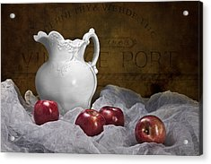 Pitcher With Apples Still Life Acrylic Print by Tom Mc Nemar