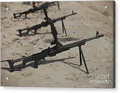 Pk General-purpose Machine Guns Stand Acrylic Print by Terry Moore