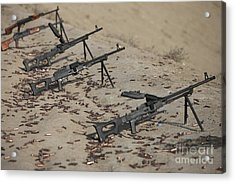 Pk Machine Guns And Spent Cartridges Acrylic Print by Terry Moore