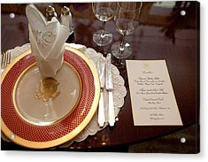 Place Setting Of The White House China Acrylic Print by Everett