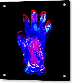 Plastic Glove, Negative Image Acrylic Print by Kevin Curtis