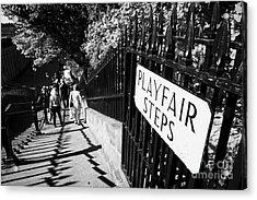 Playfair Steps Down Into Princes Street Gardens Edinburgh Scotland Uk United Kingdom Acrylic Print by Joe Fox