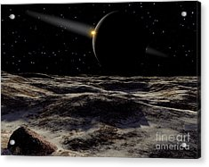 Pluto Seen From The Surface Acrylic Print by Ron Miller