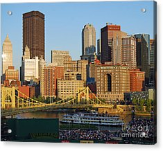 Pnc Park And River Boat Acrylic Print by Steve Whalen