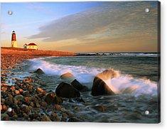 Point Judith Lighthouse Seascape Acrylic Print by Roupen  Baker