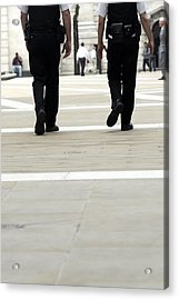 Police Officers Patrolling Acrylic Print by Tony Mcconnell