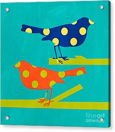 Polka Dot Birds Acrylic Print by Linda Woods
