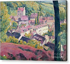 Pont Aven Seen From The Bois D'amour Acrylic Print by Emile Bernard