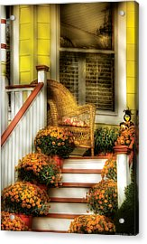 Porch - Westifeld Nj - In The Light Of Autumn Acrylic Print by Mike Savad