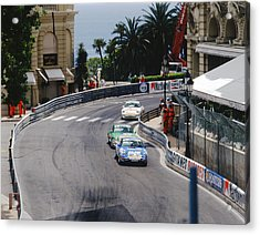 Porsches At Monte Carlo Casino Square Acrylic Print by John Bowers