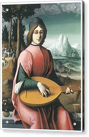Portrait Of A Young Man With A Lute Acrylic Print by Bachiacca