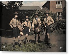 Portrait Of Boy Scouts At Abinger Acrylic Print by Clifton R. Adams