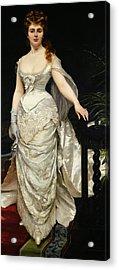 Portrait Of Mademoiselle X Acrylic Print by Charles Emile Auguste Carolus Duran