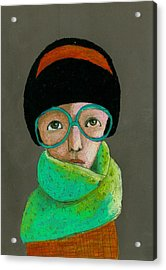 Portrait Of Woman With Glasses Acrylic Print by Jenny Meilihove