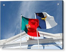 Portugal And Azores Flags Acrylic Print by Gaspar Avila