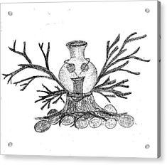 Pot Sketch Acrylic Print by Vijay Kumar