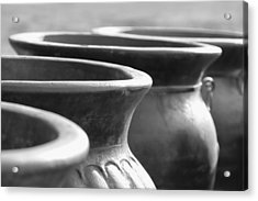 Pots In Black And White Acrylic Print by Kathy Clark
