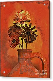 Pottery With Dried Flowers Acrylic Print by Marsha Heiken