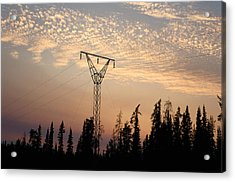 Power Tower And Sunset, Wood Buffalo Acrylic Print by Raymond Gehman