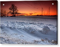 Powerlines In Winter Acrylic Print by Cale Best