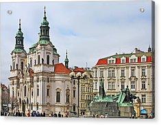 Prague - St Nicholas Church Old Town Square Acrylic Print by Christine Till
