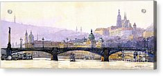 Prague Panorama Cechuv Bridge Variant Acrylic Print by Yuriy  Shevchuk