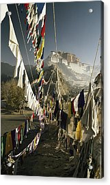 Prayer Flags Hang In The Breeze Acrylic Print by Gordon Wiltsie