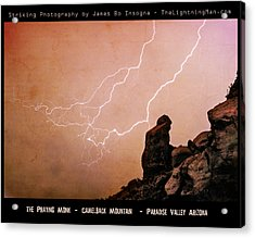 Praying Monk Camelback Mountain Lightning Monsoon Storm Image Tx Acrylic Print by James BO  Insogna