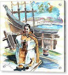 Preaching The Bible On The Conquistadores Boat In Vila Do Conde In Portugal Acrylic Print by Miki De Goodaboom