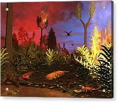Prehistoric Forest Fire, Artwork Acrylic Print by Walter Myers