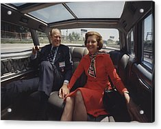 President And Betty Ford Hold Hands Acrylic Print by Everett