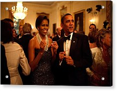 President And Michelle Obama Applaud Acrylic Print by Everett