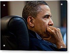 President Barack Obama Listens Acrylic Print by Everett