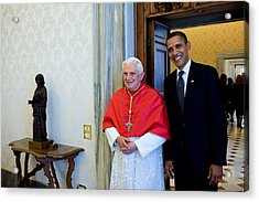 President Barack Obama Meets With Pope Acrylic Print by Everett