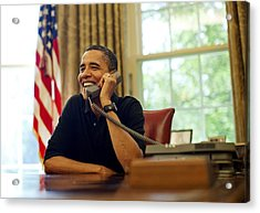 President Barack Obama Talks By Phone Acrylic Print by Everett