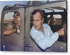 President George Bush Riding In An Acrylic Print by Everett