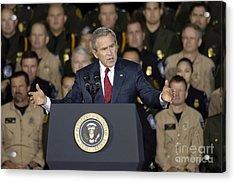 President George W. Bush Speaks Acrylic Print by Stocktrek Images