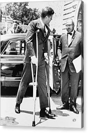 President John F. Kennedy On Crutches Acrylic Print by Everett