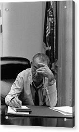 President Lyndon Johnson Making Notes Acrylic Print by Everett