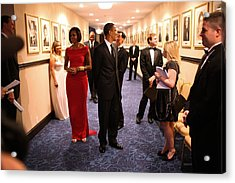 President Obama And Michelle Obama Wait Acrylic Print by Everett